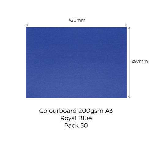 Colourboard-200gsm-A3-Royal-Blue-Pack-50